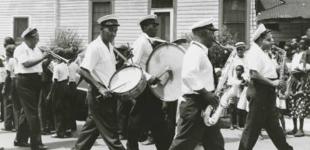 Eureka Brass Band at an Algiers funeral, 1956. Photo Credit: Ralston Crawford