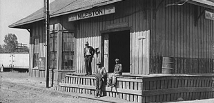 Railway station, Mileston, Mississippi Delta, Mississippi. Oct 1939, Jazz, Blues, and Literature