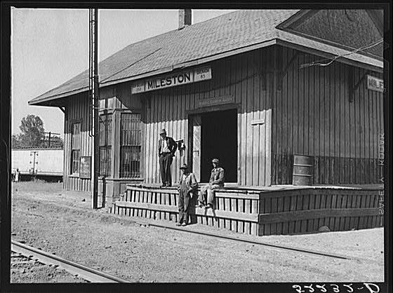Railway station, Mileston, Mississippi Delta, Mississippi. Oct 1939, Jazz, Blues, and Literature
