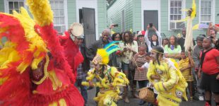 Members of Mandingo Warriors Mardi Gras Indians greet another Mardi Gras Indian gang in the historic African-American Treme Community