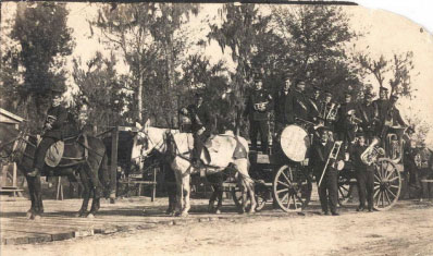 Siegfried Chistensen's Band on a wagon advertisement (1890s)