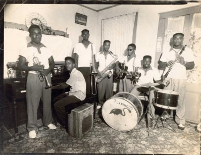 The Flamingoes (1950s) with Allen Toussaint (p), Snooks Eaglin (g), and Frank Morton (cl)