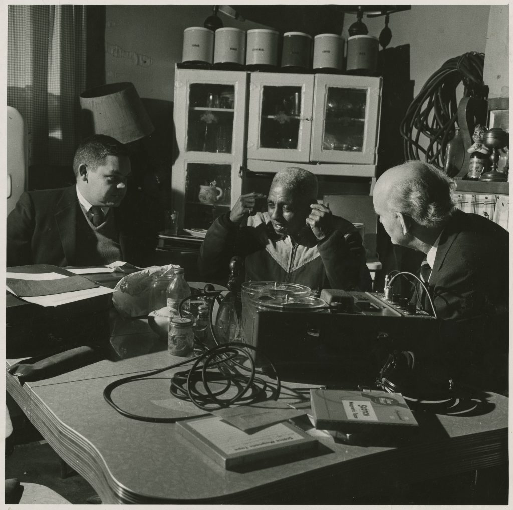 "Alcide ""Slow Drag"" Pavageau with Richard B. Allen and William Russell; during interview for Ford Foundation-910 Burgundy Street (his home); 1958-12-10; Hogan Jazz Archive, Special Collections, Howard-Tilton Memorial Library. Tulane University; Photo Credit: William Simmons"
