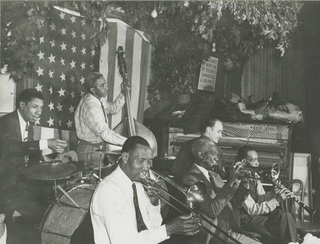 Bunk Johnson Band, Kaiser Marshall, d, Alcide 'Slow Drag' Pavageau, b, Jim Robinson, tb, Bunk Johnson, tp, Don Ewell, George Lewis. 1946; Courtesy of Hogan Jazz Archive, Tulane University
