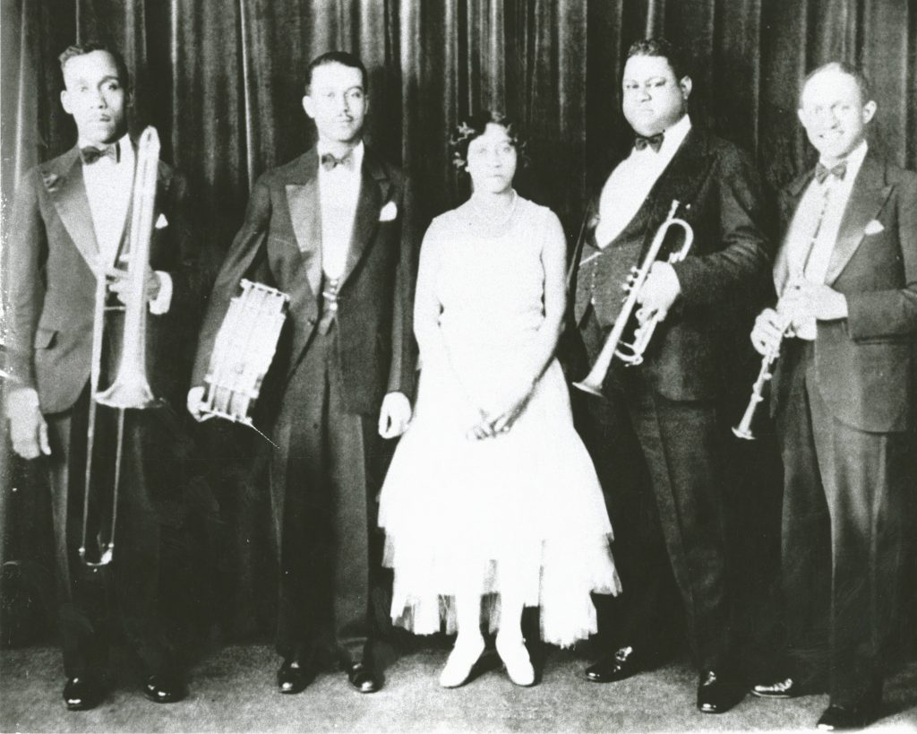 Freddie Keppard Band; Lil Hardin, 3rd from left; Freddie Keppard, 4th from left.; Courtesy of Hogan Jazz Archive, Tulane University